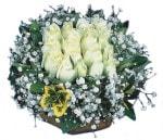 Kırklareli çiçek yolla , çiçek gönder , çiçekçi   Beyaz harika bir gül sepeti