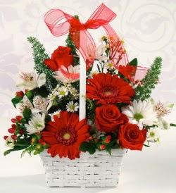 Karışık rengarenk mevsim çiçek sepeti  Kırklareli İnternetten çiçek siparişi