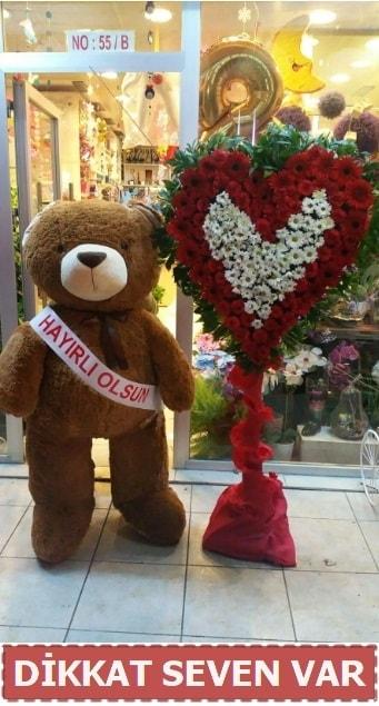 1.5 Metre peluş ayı ve Kalp  Kırklareli uluslararası çiçek gönderme