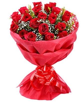 21 adet kırmızı gülden modern buket  Kırklareli anneler günü çiçek yolla