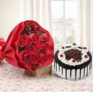 12 adet kırmızı gül 4 kişilik yaş pasta  Kırklareli çiçek servisi , çiçekçi adresleri