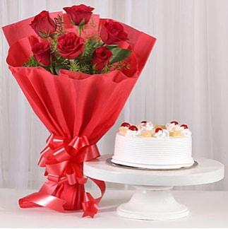 6 Kırmızı gül ve 4 kişilik yaş pasta  Kırklareli çiçek servisi , çiçekçi adresleri