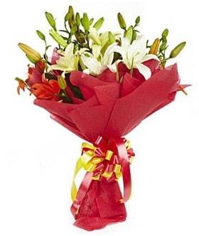 5 dal kazanlanka lilyum buketi  Kırklareli uluslararası çiçek gönderme