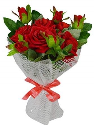 9 adet kırmızı gülden sade şık buket  Kırklareli hediye sevgilime hediye çiçek