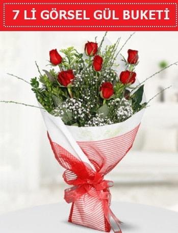 7 adet kırmızı gül buketi Aşk budur  Kırklareli çiçek online çiçek siparişi