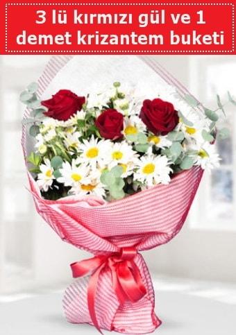 3 adet kırmızı gül ve krizantem buketi  Kırklareli uluslararası çiçek gönderme