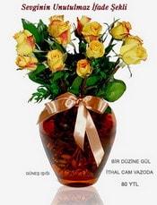 Kırklareli online çiçekçi , çiçek siparişi  mika yada Cam vazoda 12 adet sari gül